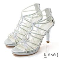 【DIANA】10cm星光銀彩葛麗特環踝電鍍高跟涼鞋-浪漫戀曲(銀)