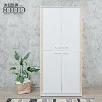 【南亞塑鋼】3尺直飾造型四開門防水塑鋼高鞋櫃(白色+白橡色)