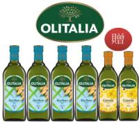【Olitalia 奧利塔專案限定】玄米油1000mlx4瓶(+頂級芥花油750mlx2瓶-禮盒組)