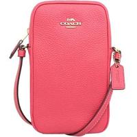 【COACH】桃紅皮革長型手機斜背包