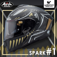 Airoh安全帽 SPARK #1 消光黑金 內置墨鏡 內鏡 亞版 雙D扣 台灣公司貨 全罩 預留藍牙耳機孔 耀瑪騎士
