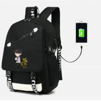 Yuzuru Hanyu Yuri on ice สเก็ตกระเป๋าเป้สะพายหลัง USB Port Bag กระเป๋าเดินทาง USB แฟชั่นวัยรุ่นกระเป๋าแล็ปท็อป