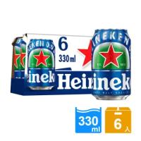 【Heineken 海尼根】海尼根0.0零酒精 330ml鋁罐裝 6入(無酒精)