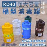 《工具職人》RD40大容量桶型濾毒罐/活性碳過濾罐 3M防毒面罩7502防毒面具6200防塵濾棉 醫療N95口罩噴漆農藥
