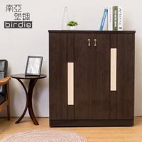 【南亞塑鋼】3尺二門直飾條塑鋼鞋櫃(胡桃色+白橡色)