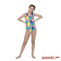 【SPEEDO】女孩 運動連身泳裝 DazzleBloc(幾何印花)