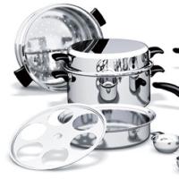 荷蘭鍋組+6個小鋼碗+焙碟全新安麗原味複合式金鍋AMWAY