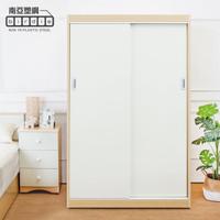 【南亞塑鋼】4.2尺拉門/推門塑鋼衣櫃(白橡色+白色)
