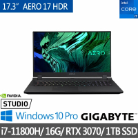 【GIGABYTE 技嘉】AERO 17 HDR XD 17.3吋電競筆電(i7-11800H/16G/1TB SSD/RTX3070 8G/WIN10 PRO)