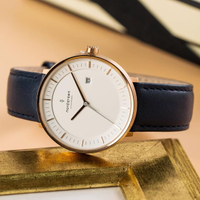 【Nordgreen】ND手錶 哲學家 Philosopher 40mm 玫瑰金殼×白面 北歐藍真皮錶帶(PH40RGLENAXX)
