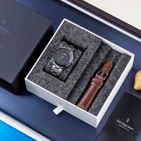 【Nordgreen】Christopher 限量聯名款 深空灰殼×黑面 三珠精鋼錶帶+復古棕真皮錶帶(PH36GMBLCH-3LGULEBR)