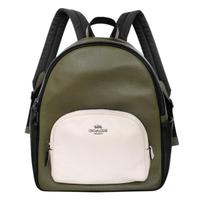 【COACH】荔枝紋全皮雙層多口袋後背包(綠白黑拼色)