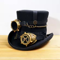สีดำผู้หญิงผู้ชาย100%ขนสัตว์DIY FedoraหมวกSteampunkหมวกอบไอน้ำพังก์เกียร์fedorasหมวกหมวกS Teampunkแว่นตาDIYที่ทำด้...