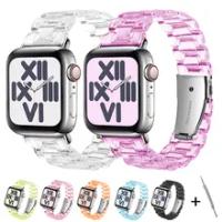 เรซิ่นนาฬิกาสำหรับ Apple Watch 6 5 4 Band 42Mm 38Mm Correa โปร่งใสสำหรับ Iwatch 6 Series 5 4 3/2นาฬิกา44มม.40มม.