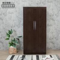 【南亞塑鋼】3尺二門塑鋼衣櫃(胡桃色)