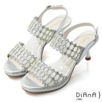 【DIANA】7cm星光銀彩托斯細網縷紡紗電鍍高跟涼鞋-浪漫戀曲(銀)