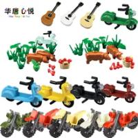 Creator City MOC ของเล่นเด็กกระเป๋าเดินทางรถจักรยานยนต์อะไหล่ Sandbags ของขวัญการศึกษาสำหรับเด็กเมืองอา...