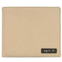 【agnes b.】鐵牌雙色防刮短夾-附零錢袋(卡其)