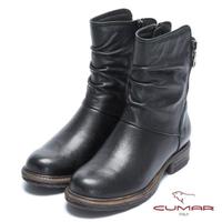 【CUMAR】率性柔美-中性風自然抓皺拉鍊裝飾前高後低短靴(石曜黑)