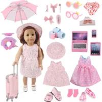 สีชมพู,ชุดกระเป๋าเดินทางสำหรับ18นิ้วอเมริกัน Elegant ตุ๊กตา43ซม.ตุ๊กตาเสื้อผ้าเด็ก,ชุดเดินทาง,ของ...