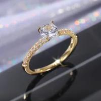 ใหม่หรูหรา Classic Sparkling Zircon งานแต่งงานแหวนทอง,สีขาวทอง,Rose Gold สามสีเครื่องประดับ