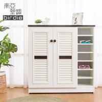 【南亞塑鋼】3.3尺二門右開放塑鋼百葉鞋櫃(胡桃色+白色)