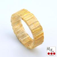 【開運方程式】金黃滿絲鈦晶手排20mm手排(隨機出貨)