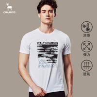 【Chamois】機能涼感彈力速乾印花T-shirt(白)