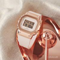 卡西歐G-SHOCK玫瑰金金屬小方塊情侶手錶男運動女錶GM-S5600PG-4 EVLg