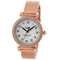【COACH】Madison玫瑰金鋯石圓框不鏽鋼錶帶手錶