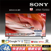 【SONY 索尼】Sony BRAVIA 75型4K Google TV 顯示器(XRM-75X90J)