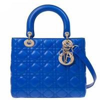 Dior 迪奧 Lady Dior CAL445 中款五格小羊皮黛妃包 藍色