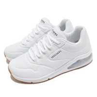 【SKECHERS】休閒鞋 Uno 2-Air Around You 女 街頭時尚 氣墊 支撐緩衝 耐用 皮革 白 棕(155543WHT)