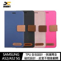 【愛瘋潮】99免運  手機殼 XMART SAMSUNG Galaxy A52/A52 5G 斜紋休閒皮套 可立 插卡 磁扣