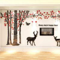 Tree Acrylic Mirror Large Size Wall Sticker Creative Diy Living Room Art 3d Wallpaper Home Background Wall Decoration Stickers