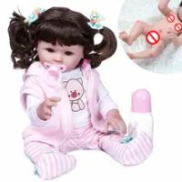 Nyata Boneka Bayi 48 Cm Full Body Silikon Merah Muda Babi Gaun Set BEBE Reborn Boneka Tahan Air Mandi Boneka Mainan hadiah Ulang Tahun