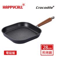 【韓國HAPPYCALL】石墨烯IH瞬熱原木不沾鍋28公分方煎鍋(電磁爐適用平煎鍋)