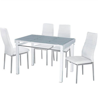 【AT HOME】馬可3.6尺玻璃烤漆長方桌/餐桌/工作桌/洽談桌椅組(1桌4椅/2色可選)