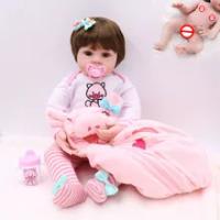 Premie Bayi Ukuran 48 Cm Full Body Silikon Merah Muda Babi Gaun Set BEBE Boneka Reborn Boneka Tahan Air Mandi Boneka mainan Natal Gfit