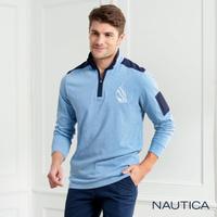 【NAUTICA】立領撞色拼接長袖POLO衫(藍色)
