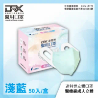 【DRX 達特世】醫用口罩成人立體(淺藍50片/盒)