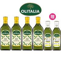 【Olitalia 奧利塔】純橄欖油1000mlx4瓶(+高溫專用葵花油500mlx2瓶-禮盒組)