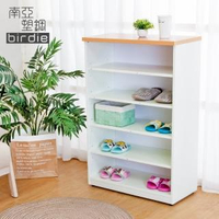 【南亞塑鋼】2.2尺開放式五格收納櫃/置物櫃/鞋櫃(木紋色+白色)