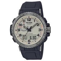 【CASIO 卡西歐】PRO TREK太陽能電波手錶(黑/米色 PRW-50Y-1B)