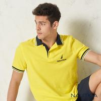【NAUTICA】簡約拼接撞色領短袖POLO衫(黃色)