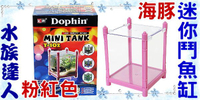 【水族達人】海豚Dophin《MINI TANK 迷你鬥魚缸.粉紅色》壓克力製鬥魚缸/桌上型小魚缸