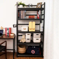 【FL 生活+】快裝式岩熔碳鋼五層可調免螺絲附輪耐重置物架 層架 收納架-40x90x183cm(FL-273)