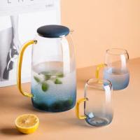 【KOTI 日安生活】藍色漸層耐熱玻璃冷水壺1400ml(茶壺水瓶矽膠壺蓋)
