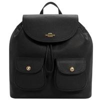 【COACH】黑色皮革雙口袋掀蓋式縮口後背包(6145 IMBLK)