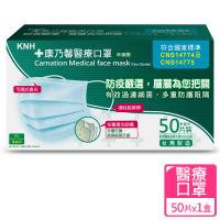 【康乃馨】醫療口罩50片盒裝 未滅菌(一般耳帶粉藍色款)